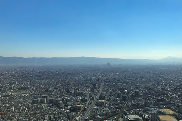OSAKA JAPAN - 15 OCTOBER, 2016: Osaka city view from Abeno Harukas building in Tennoji. Abeno Harukas is a multi-purpose commercial facility and is the tallest building in Japan.
