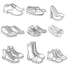 Vector Set of Sketch Shoes Items