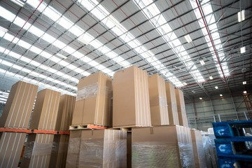 Cardboard boxes in warehouse