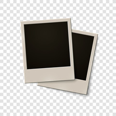 Empty photo frames in retro style. Isolated on white transparent background. Black and white. Vector illustration, eps 10.