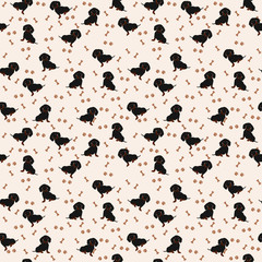 Dogs Dachshund Vector Seamless pattern. Dog Dachshund, bone, paw print.