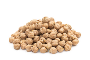 Pile of dry chickpeas on white background