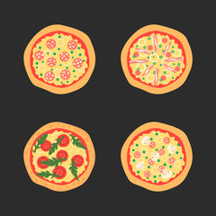 Pizzas with different toppings including Margherita, bacon, onion, tomatoes. Top view. Vector illustration.