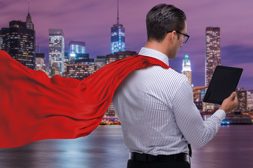 Man in red cover protecting city