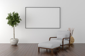 Solo chair and blank picture frame background