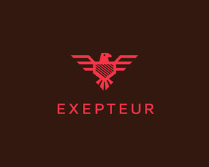 Eagle vector logotype. Falcon shield logo design template. Luxury brand, bird crest emblem, premium icon sign symbol