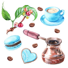 Set of coffee. Cakes, Cup of coffee, a branch of coffee tree, co