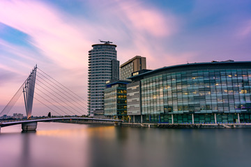 Dramatic clouds over Salford Quays, Manchester, UK.