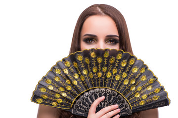 Woman with fan isolated on white