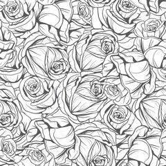 monochrome pattern flowers roses