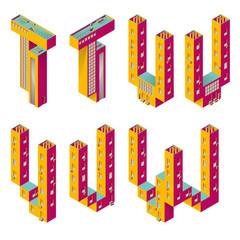 BUILDING TYPES. ISOMETRIC ALPHABET.