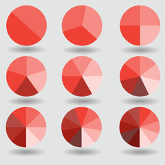 pie graph circle chart red set illustration round vector