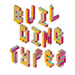 BUILDING TYPES. ISOMETRIC CITY.