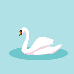 swan vector illustration style Flat