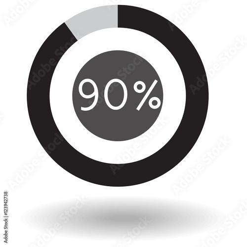 Icon Business Colorful Pie Chart Circle Graph 90 Black Vector