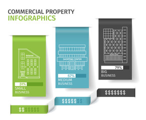 Silhouettes of buildings on the colorful paper tab, Commercial Real Estate Infographics. Vector illustration.