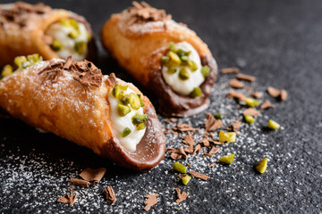 Wall Murals Dessert Traditional Sicilian cannoli stuffed with ricotta and pistachios