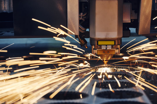 plasma or laser cutting metalworking with sparks