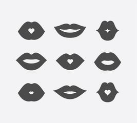 Abstract women lips icon set