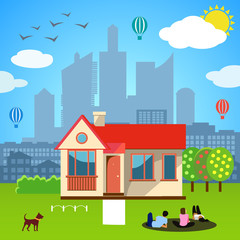 Urban home concept. Vector illustration