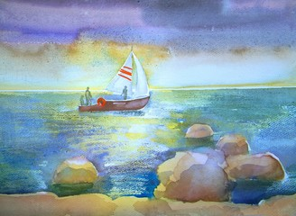 Baltic Sea in summer. Sketch of landscape in Latvia.  Watercolor.
