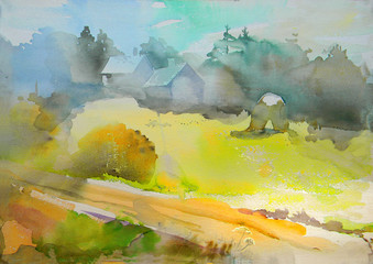 Summer in Latvia. Sketch of landscape in the charming village in Baltic. Watercolor.