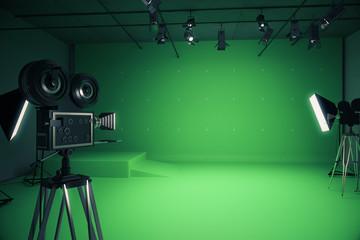 Modern green photo studio