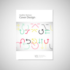 Vector arrows set on a white brochure