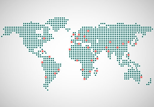 Abstract world map of dots, capitals countries