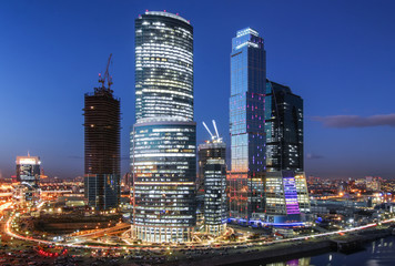 Moscow international business center Moscow City at night