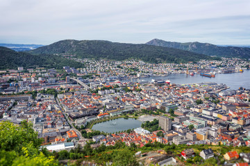 View on Bergen and harbor from the mountain