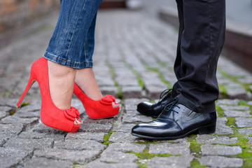 Couples foots stay at the street