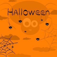 Happy Halloween. Vector of black spiders and web. Halloween back