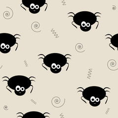 Seamless pattern vector of funny and cute black spiders. Hallowe