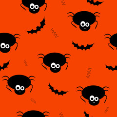 Seamless pattern vector of funny and cute black spiders and bat.
