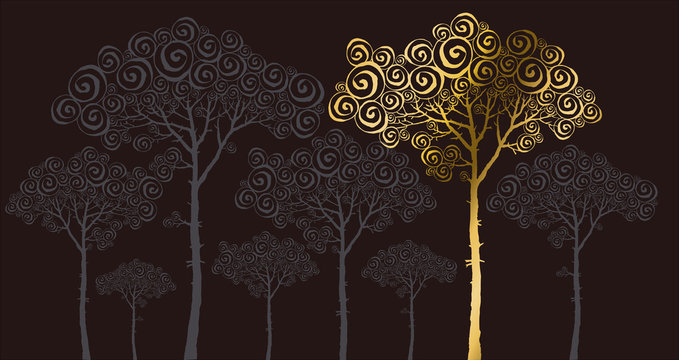 vector illustration of gold pine silhouette