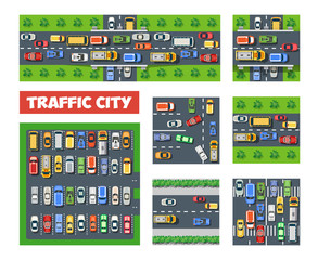 Traffic Transportation set of city streets with traffic, cars and trucks. Urban roadways and sidewalks with pedestrian crossings and people