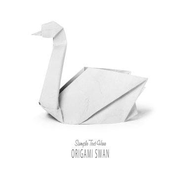 Origami paper white swan