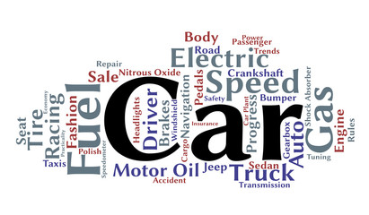 Car word cloud. Transport concept. Vector.