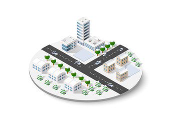 Christmas winter snowbound landscape 3d isometric urban city infographic concept. Town center map with buildings,shops and roads on the plane.