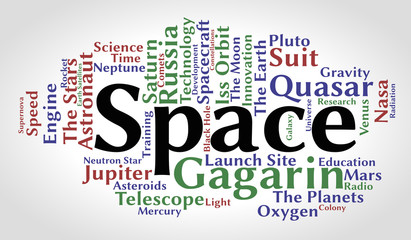 Space word cloud. Gradient background. Vector illustration.