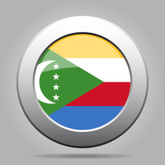 Flag of Comoros. Shiny metal gray round button.