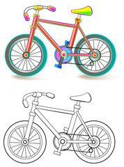 Colorful and black and white pattern of bike, vector cartoon image.