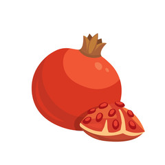 Cut pomegranate icon . Cartoon healty fruit isolated vector illustration. Vegeterian and vegan diet food. Ripe