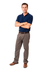 Fototapeta Full-length business causal professor teacher businessman ceo architect engineer accountant in polo shirt with arms crossed isolated on white background