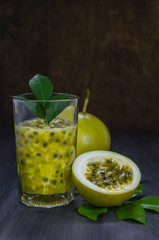 Fresh passion fruit juice in glass