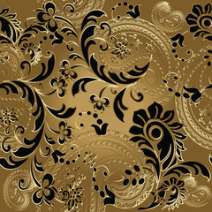 Paisleys luxury floral vector seamless pattern background wallpaper illustration with vintage stylish beautiful modern 3d gold and black line art paisley flowers leaves and ornaments.