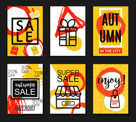 Autumn sale banners for web and print. Poster, Card, Flyer, Banner Design. Vector Illustration.
