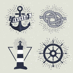Set of retro nautical labels. Vector illustration for label, t-shirt print, vintage badges and logo design.