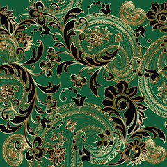 Paisleys elegant vector seamless pattern background wallpaper illustration with vintage stylish beautiful modern 3d line art gold and black paisley flowers leaves  ornaments on the green  background